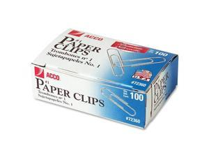 Smooth Finish Premium Paper Clips, Wire, No. 1, Silver, 100/Box, 10 Boxes/Pack
