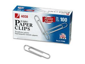 Smooth Finish Premium Paper Clips, Wire, Jumbo, Silver, 100/Box, 10 Boxes/Pack