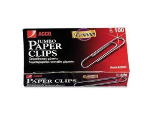 Nonskid Premium Paper Clips, Wire, Jumbo, Silver, 100/Box, 10 Boxes/Pack