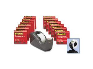 "Scotch C60 Desktop Dispenser/12 Rolls Transparent Glossy Tape, 1"" core, Black 600K-C60"