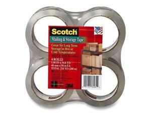 "Scotch 3650-4 Moving & Storage Tape, 1.88"" x 54.6 yards, 3"" Core, Clear, 4 Rolls/Pack"