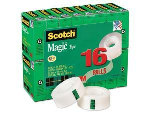 "Scotch 810K16 Magic Office Tape Value Pack, 3/4"" x 1000"", 1"" Core, Clear, 16 Rolls/Pack"
