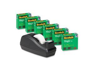 "3M                                       C40 Desk Tape Dispenser and 6 Rolls Scotch Magic Tape, 1"" Core, Black"