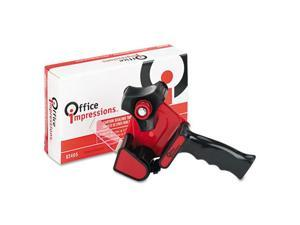 "Office Impressions Handheld Box Sealing Tape Dispenser, 3"" core, Steel/Plastic, Black/Red"