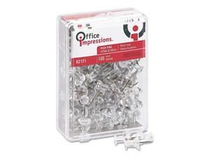 "Office Impressions Push Pins, Plastic, Clear, 3/8"", 100/Pack"