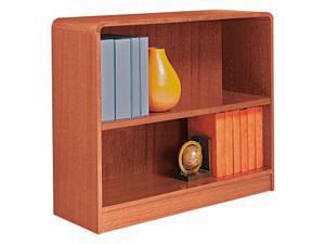 Alera BCR23036MO Radius Corner Wood Veneer Bookcase, 2-Shelf, 35-3/8w x 11-3/4d x 30h, Medium Oak