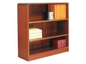 Alera BCR33636MC Radius Corner Wood Veneer Bookcase, 3-Shelf, 35-3/8 x 11-3/4 x 36, Medium Cherry