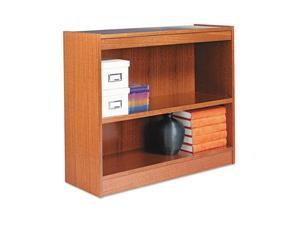 Alera BCS23036MO Square Corner Wood Veneer Bookcase, 2-Shelf, 35-3/8w x 11-3/4d x 30h, Medium Oak