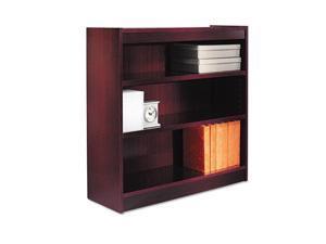 Alera BCS33636MY Square Corner Bookcase, Wood Veneer, 3-Shelf, 35-3/8w x 11-3/4d x 36h, Mahogany