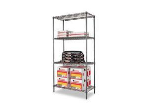 Alera SW50-3618BA Wire Shelving Starter Kit, 4 Shelves, 36w x 18d x 72h, Black Anthracite