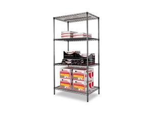 Alera SW50-3624BA Wire Shelving Starter Kit, 4 Shelves, 36w x 24d x 72h, Black Anthracite