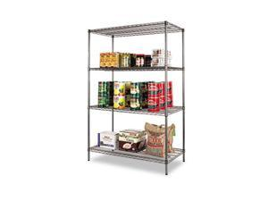Alera SW50-4824BA Wire Shelving Starter Kit, 4 Shelves, 48w x 24d x 72h, Black Anthracite