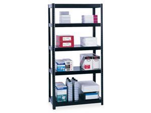 Safco Boltless Steel Shelving, 5 Shelves, 36w x 18d x 72h, Black