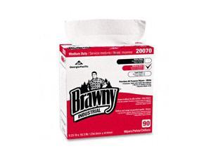 Georgia Pacific 20070/03 Brawny Industrial Medium-Duty Premium Wipes, 9-1/4 x 16-3/8, White, 90/Box