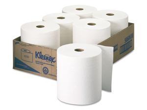 "KIMBERLY-CLARK PROFESSIONAL* 50606 KLEENEX Hard Roll Towels, 8 x 600', 1.75"" Core Dia., White, 6/Carton"