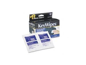 Read Right KeyWipes Keyboard & Hand Cleaner Wet Wipes, 5 x 6 7/8, 18/Box