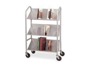 Buddy Products 5414-3 Sloped 3-Shelf Book Cart, 26w x 16d x 41-1/2h, Silver