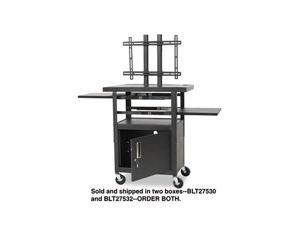 Balt 27532 Height-Adjustable Flat Panel TV Cart, 4-Shelf, 24w x 18d x 46h, Black