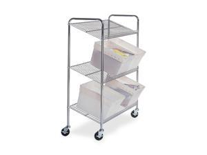 Mayline CTT2 Kwik-File 3-Shelf Wire Mail Tote Cart, 43½w x 18d x 55h, Chrome