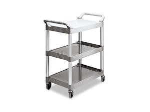 Rubbermaid Commercial 342488PM Economy Plastic Cart, 3-Shelf, 18-5/8w x 33-5/8d x 37-3/4h, Platinum