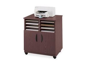 Safco Laminate Machine Stand w/Sorter Compartments, 28w x 19-3/4d x 30-1/2h, Mahogany