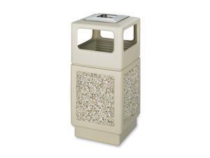 Safco                                    Canmeleon Ash/Trash Receptacle, Square, Aggregate/Polyethylene, 38 gal, Tan