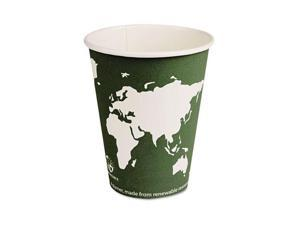 Eco-Products                             World Art Renewable Resource Compostable Hot Cups, 12 oz, Green, 1000/Ctn