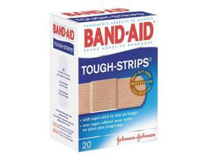 Johnson & Johnson                        Flexible Fabric Adhesive Tough Strip Bandages, 1 x 3-1/4, 20/Box