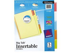 Avery                                    WorkSaver Big Tab Reinforced Dividers, Multicolor Tabs, 5-Tab, Letter, Buff
