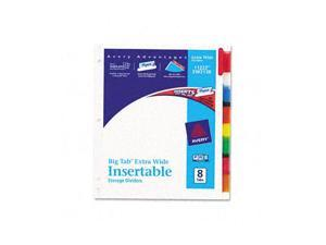 Avery WorkSaver Big Tab Extrawide Dividers w/Eight Multicolor Tabs, 9 x 11, White
