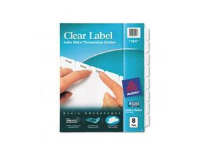 Avery Index Maker Clear Label Dividers, 8-Tab, Letter, White