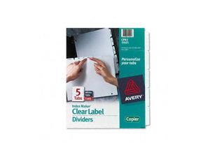 Avery                                    Index Maker White Dividers For Copiers, 5-Tab, Letter, Clear, 5 Sets/Pack