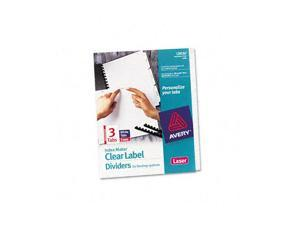 Avery                                    Index Maker Clear Label Unpunched Divider, 3-Tab, Letter, White, 5 Sets