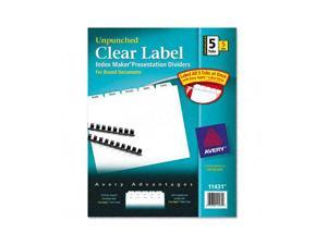 Avery                                    Index Maker Clear Label Unpunched Divider, 5-Tab, Letter, White, 5 Sets