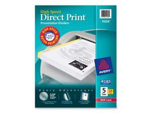 Avery 11539 Direct Print Unpunched Presentation Dividers, 5-Tab, Letter, White, 24 Sets/Pack