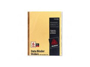 Avery                                    Gold Line Data Binder Insertable Tab Index, 6-Tab, 14-7/8 x 11, Buff, 6/Set