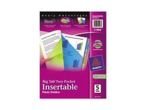 Avery                                    WorkSaver Big Tab Plastic Dividers, Two Slash Pockets, 5-Tab, Assorted