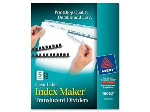 Avery                                    Index Maker Unpunched Clear Label Dividers, 5-Tab, Letter, 5 Sets/Pack