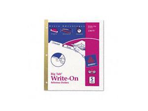 Avery Big Tab Write-On Dividers w/Erasable Laminated Tabs, White, 5/Set
