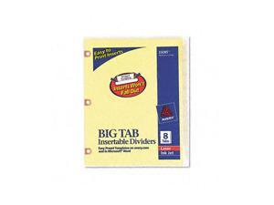 Avery                                    WorkSaver Big Tab Dividers w/Copper Holes, Clear 8-Tab, Letter, Buff