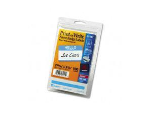 Print/Write Self-Adhesive Name Badges, 2-11/32 x 3-3/8, Blue, 100/Pack