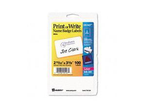 Print/Write Self-Adhesive Name Badges, 2-11/32 x 3-3/8, White, 100/Pack