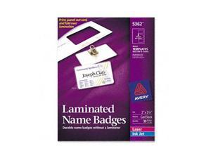 Self-Laminating Laser/Inkjet Printer Badges, 2 x 3-1/4, White, 30/Box