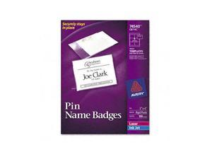 Badge Holders w/Laser/Inkjet Inserts, Top Loading, 3 x 4, White, 100/Box