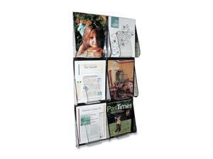 Multi-Pocket Wall-Mount Literature Systems, 18-1/4w x 2-7/8d x 35-1/4h,Clear/BK