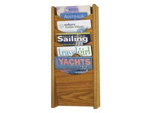 Solid Wood Wall-Mount Literature Display Rack, 11-1/4 x 3-3/4 x 24, Medium Oak
