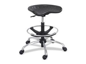 "Safco 6660BL Sit-Star Stool with Footring & Caster, 27""-36h Seat, Black/Chrome"