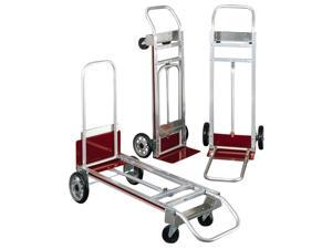 Safco 3-Way Convertible Hand Truck Cart, 500-600lb Cap, 20-1/4 x 48, Aluminum/Red