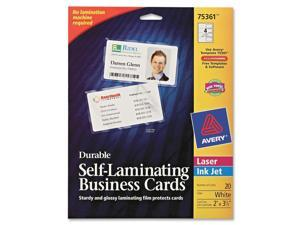 Avery                                    Self-Laminating Business/ID Cards, White Matte, 2 1/4 x 3 1/2, 20/PK