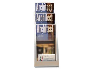 deflect-o Three-Tier Leaflet Holder, 6-3/4w x 6-15/16d x 13-5/16h, Silver